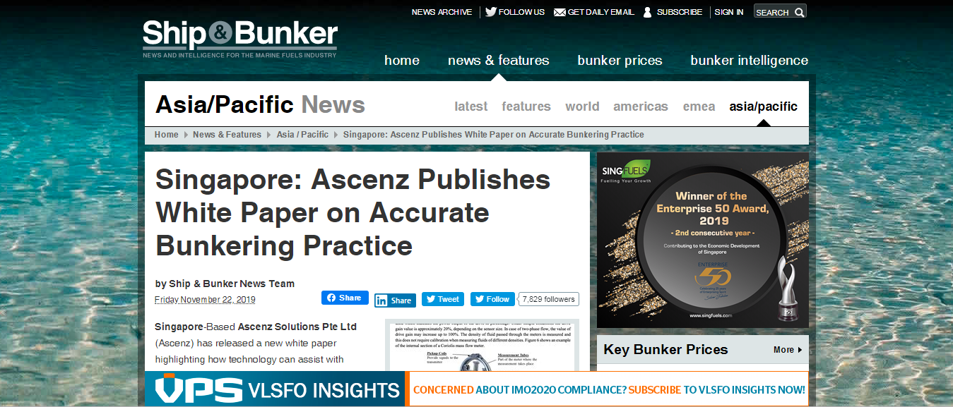 Ship & Bunker - Singapore Ascenz Publishes White Paper